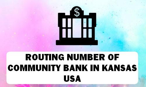 Routing Number of COMMUNITY BANK KANSAS