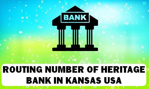 Routing Number of HERITAGE BANK KANSAS