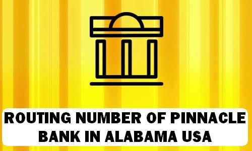 Routing Number of PINNACLE BANK ALABAMA