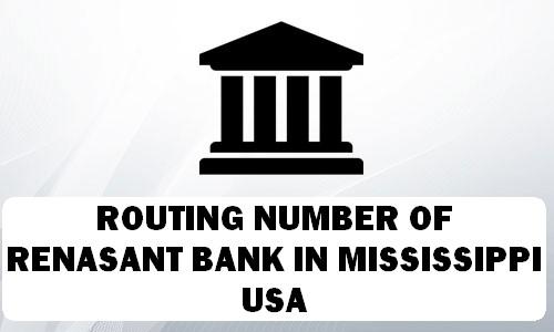 Routing Number of RENASANT BANK MISSISSIPPI