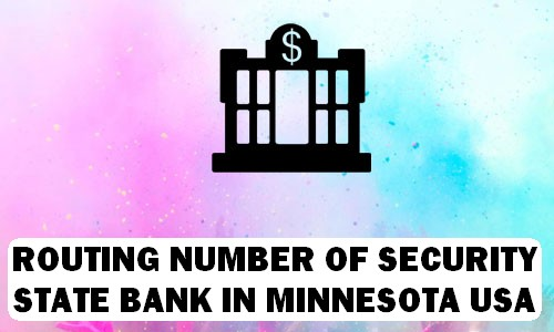 Routing Number of SECURITY STATE BANK MINNESOTA