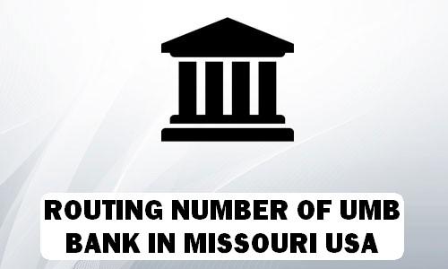 Routing Number of UMB BANK MISSOURI