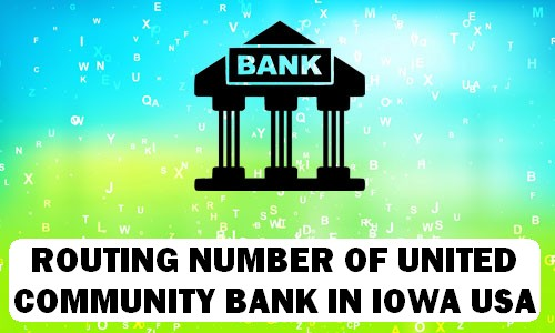 Routing Number of UNITED COMMUNITY BANK IOWA